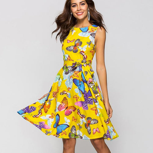 Sexy Butterfly Printed Women Vintage Summer A Line Boho Swing Midi Dress