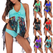 Load image into Gallery viewer, Wrap Halter Irregular Hem Tankini Suit