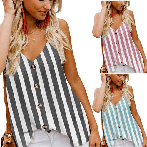Women's Button Down V Neck Strappy Tank Tops