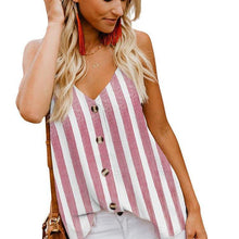 Load image into Gallery viewer, Women's Button Down V Neck Strappy Tank Tops