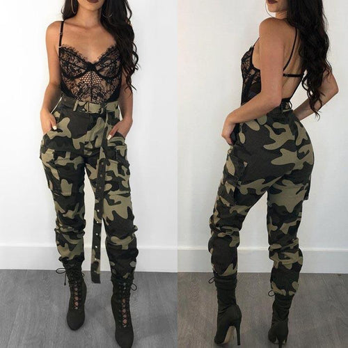 Camouflage Printed Casual Women Camo Pants(without Belt)