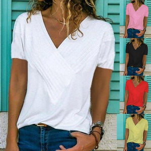 Short Sleeve Solid Color V-neck Top