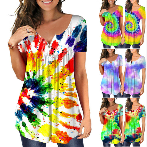 Women Fashion Tie Dye Printed Round Neck Short Sleeve Casual Summer T-shirt Tops