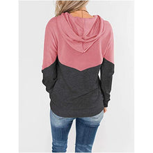 Load image into Gallery viewer, Hooded Drawstring Stitching Contrast Long-sleeved Hoodie Sweatshirt