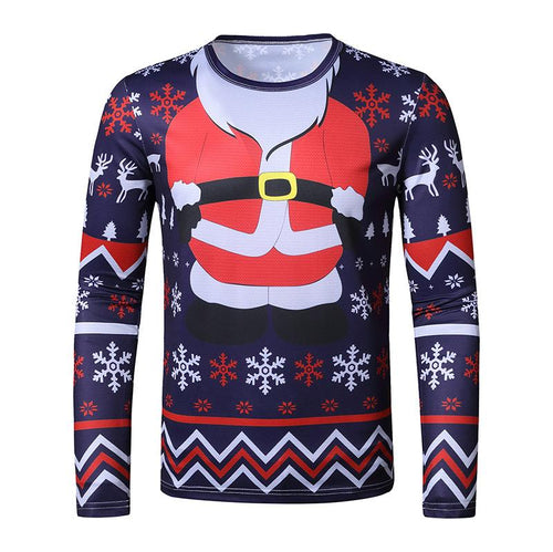 Men's Ugly Christmas Large Size 3D Faux Print Long Sleeve T-Shirt