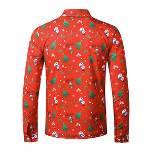 Men's Ugly Christmas Large Size 3D Faux Print Long Sleeve Shirt