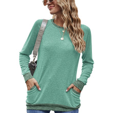Load image into Gallery viewer, Women Round Neck Long Sleeve Pocket Pullover Sport Casual T-shirt Blouse Tops