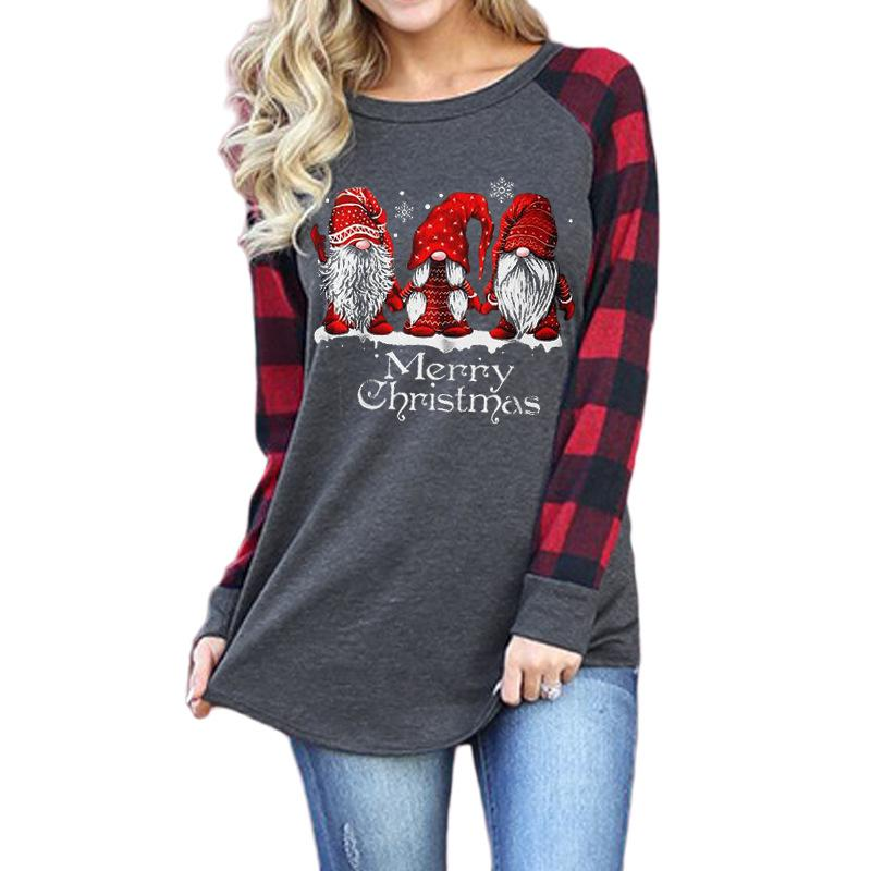 Merry Christmas Letter Santa Claus Snowflake Print Round Neck Long Sleeve T-shirt