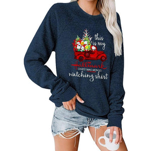 Christmas Car Tree Pattern Printing Round Neck Raglan Long Sleeve Sweatshirt