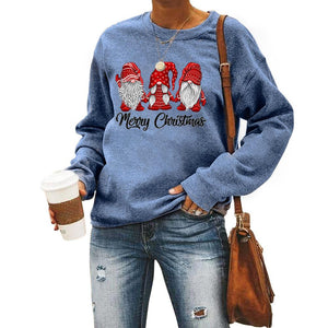 Merry Christmas Santa Pattern Print Round Neck Long Sleeve Sweatshirt