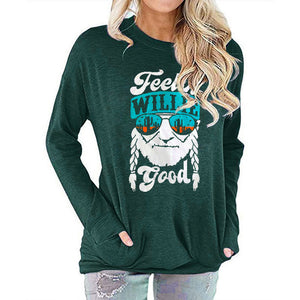 Women FEELIN WILLIE GOOD Letter Print Long Sleeve Round Neck Pocket Casual Shirt Tops