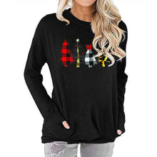 Load image into Gallery viewer, Women Christmas Tree Print Long Sleeve Round Neck Pocket Casual Shirt Tops