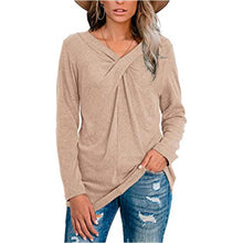 Load image into Gallery viewer, Women Plain Long Sleeve V Neck Cross Knot Casual Blouses Shirts Tunic Tops