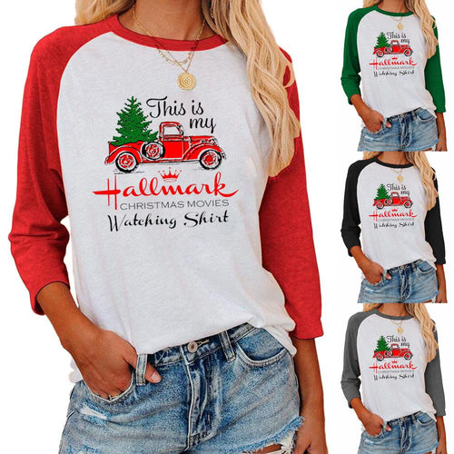 Women Christmas Car Letter Printed Round Neck 3/4 Sleeve T-shirt Blouse Tops