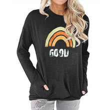 Load image into Gallery viewer, Women Rainbow Print Long Sleeve Round Neck Pocket Casual Shirt Tops