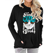 Load image into Gallery viewer, Women FEELIN WILLIE GOOD Letter Print Long Sleeve Round Neck Pocket Casual Shirt Tops