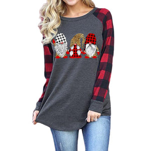Merry Christmas Santa Claus Print Round Neck Long Sleeve T-shirt