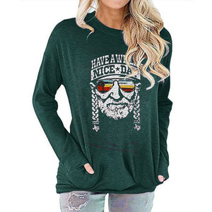 Women Have a Willie Nice Day Letter Print Long Sleeve Round Neck Pocket Casual Shirt Tops