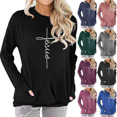 Women Jesus Letter Print Long Sleeve Round Neck Pocket Casual Shirt Tops