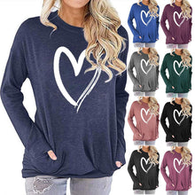 Load image into Gallery viewer, Women Heart Print Long Sleeve Round Neck Pocket Casual Shirt Tops