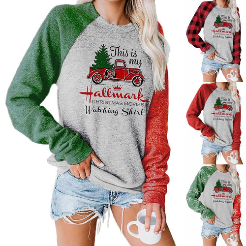 Women Christmas Tree Cart Snowflake Plaid Printed Patchwork Long Sleeve Casual Pullover Sweatshirt