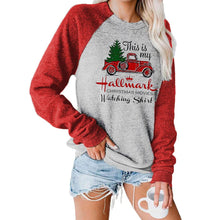 Load image into Gallery viewer, Women Christmas Tree Cart Snowflake Plaid Printed Patchwork Long Sleeve Casual Pullover Sweatshirt