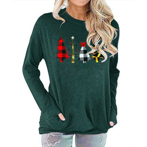Women Christmas Tree Print Long Sleeve Round Neck Pocket Casual Shirt Tops