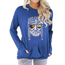 Load image into Gallery viewer, Women Have a Willie Nice Day Letter Print Long Sleeve Round Neck Pocket Casual Shirt Tops