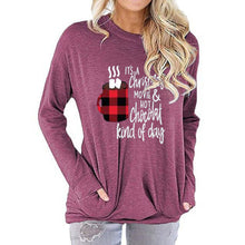 Load image into Gallery viewer, Women Christmas Letter Print Long Sleeve Round Neck Pocket Casual Shirt Tops