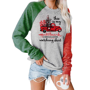 Women Christmas Cart Snowflake Plaid Printed Patchwork Long Sleeve Casual Pullover Sweatshirt