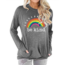 Load image into Gallery viewer, Women Rainbow Be Kind Letter Print Long Sleeve Round Neck Pocket Casual Shirt Tops