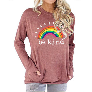 Women Rainbow Be Kind Letter Print Long Sleeve Round Neck Pocket Casual Shirt Tops