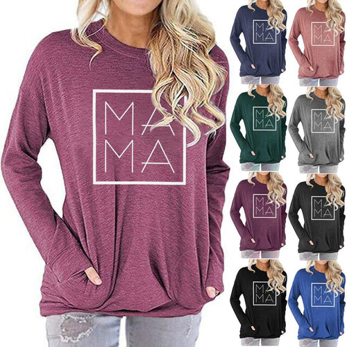 Women MAMA Letter Print Long Sleeve Round Neck Pocket Casual Shirt Tops