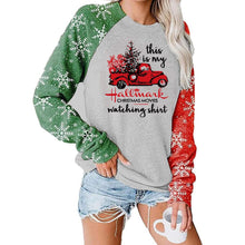 Load image into Gallery viewer, Women Christmas Cart Snowflake Plaid Printed Patchwork Long Sleeve Casual Pullover Sweatshirt