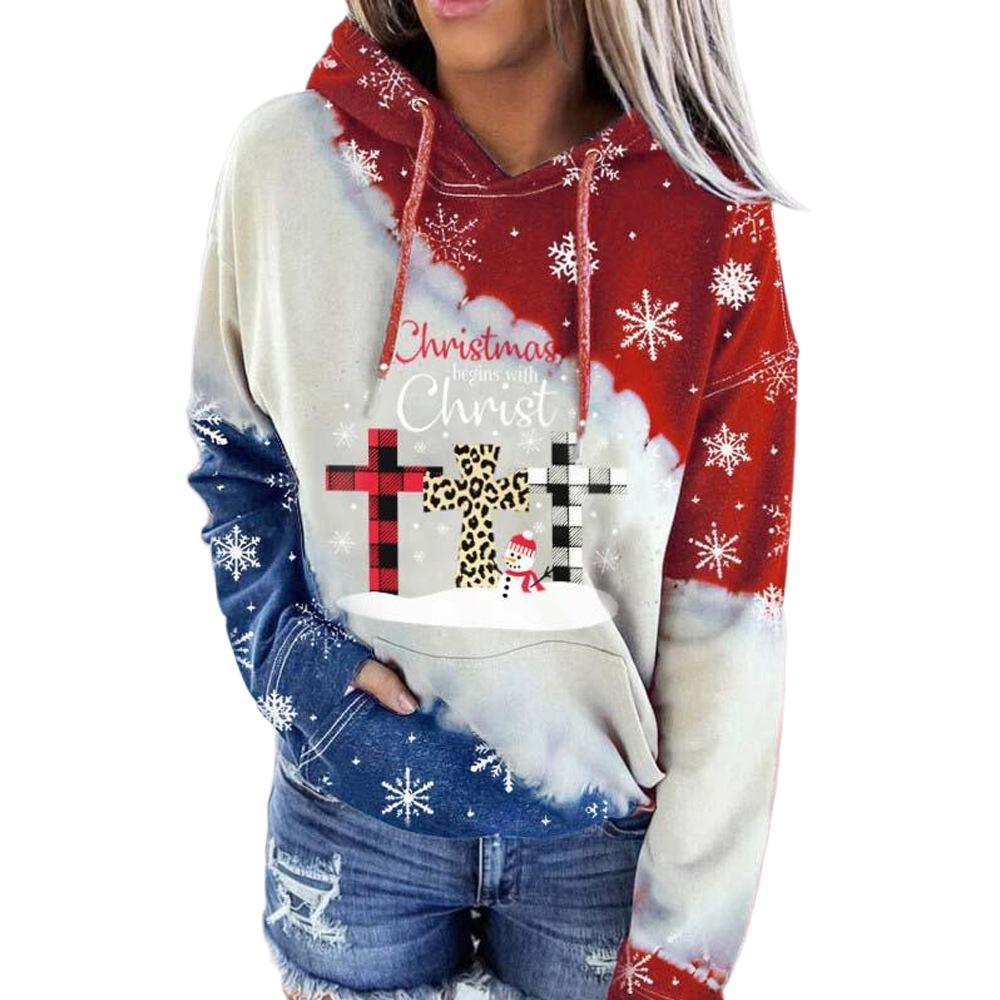Women Christmas Sweatshirt Plaid Print Hoodie