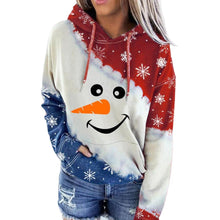 Load image into Gallery viewer, Women Christmas Sweatshirt Plaid Snowman Print Hoodie