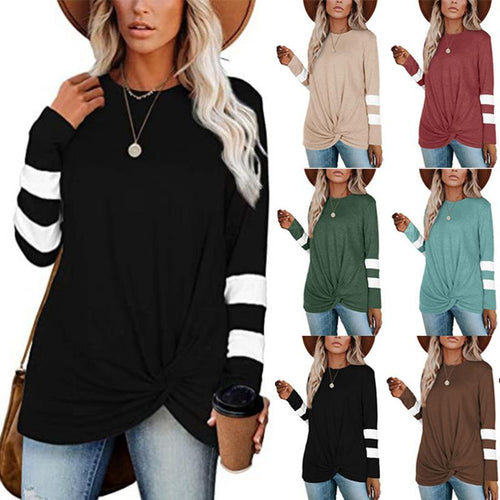 Women Stripe Patchwork Long Sleeve Casual Round Neck Knotted T-shirt Blouse Tops