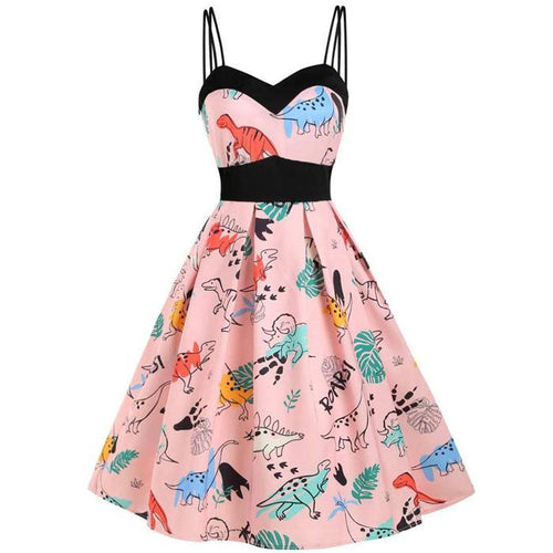 Dinosaur Printed Women Casual Sleeveless Vintage Strap Empire Waist Swing Midi Dress