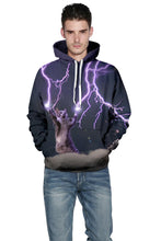 Load image into Gallery viewer, Lightning & Cat  Dgital Print Loose Fashion Hoodie