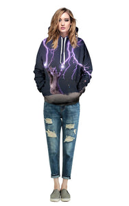Lightning & Cat  Dgital Print Loose Fashion Hoodie