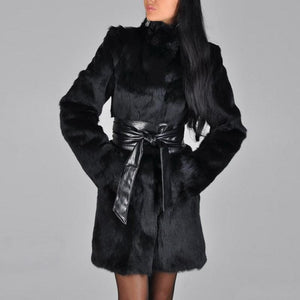 Faux Fur Coat with Belt