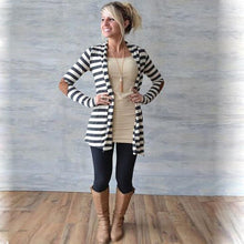Load image into Gallery viewer, Slim Long Sleeve Striped Arm Patch Cardigan