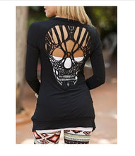 Load image into Gallery viewer, Black Skull Cut Out Round Neck Long Sleeve Fashion T-Shirt