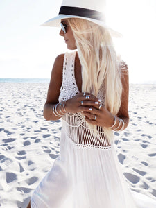 Hollow Out Sleeveless Sexy Casual Knitted Tassels Summer Dress