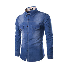 Load image into Gallery viewer, M-6XL Denim Shirt Double Pocket Slim Long Sleeve Shirt