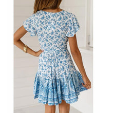 Load image into Gallery viewer, Holiday Short Sleeve Deep V Pleated Print Bohemian Beach Dress