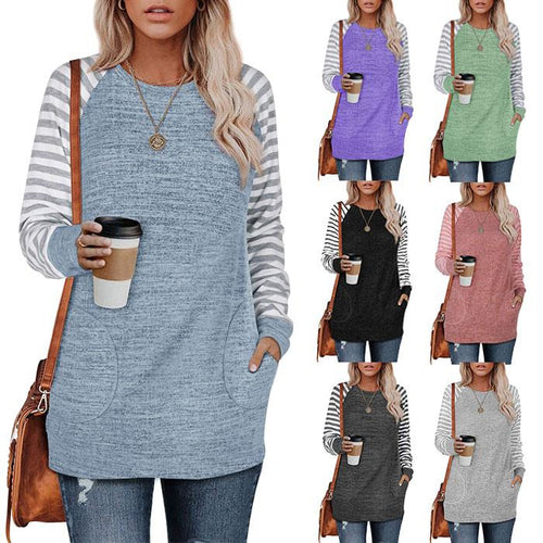 Women Stripe Printed Long Sleeve Casual Round Neck T-shirts Blouse Tunic Tops