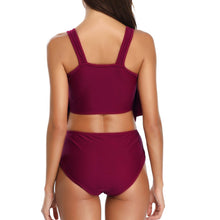 Load image into Gallery viewer, Pleated Conservative High Waist Swimsuit Bikini Set