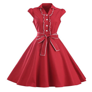 1950s Retro Rockabilly Dress Cap Sleeve Vintage Swing Dress