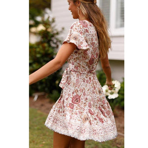 Holiday Short Sleeve Deep V Pleated Print Bohemian Beach Dress